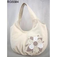 White Cotton Twill Flower Stitching Simple Holiday Hobo