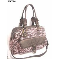 Canvas Two-tone Top Zippered Closure Ladies' Hand Bag