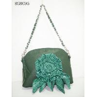 Sea Green Lamb PVC W/ Flower Decoration Ladies' Shoulder Bag W/ Chain, RG8095