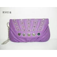 Violet Flap Over Ruffle Details Studs Decoration Vintage Ladies' Clutch