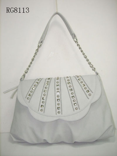 White Flap Over Vintage Studs Decoration Ladies' Shoulder Bag