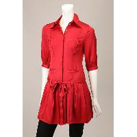 Ladies Woven Dress with Button Front