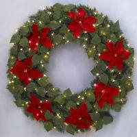 Red Velvet Poinsettia Mixed 48 inches Ltd Wreath, 68363