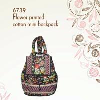 Floral Print Quilted Cotton Backpack