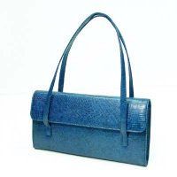 Envelope shape handbag in lizard fake leather