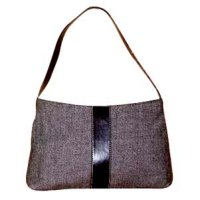 Wooly Fabric Handbag With Fake Leather Trimming