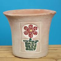TERRACOTTA ITEMS - PLANTER WITH MOSAIC