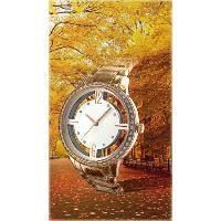 AUTUMN Metal Band Three Hands Hollow Dial Analog Watch