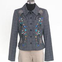 Ladies' Polyester Check With Embroidery + Beading And Diamante Woven Jacket