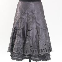 Ladies' Polyester Satin Woven Skirt With Embroidery Cutwork + Ruffle At Inner Layer