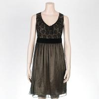 Ladies' Delicate Dress With Lace At Top & 100% Silk Chiffon Crinkle Skirt