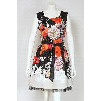 Ladies Polyester Print Trendy Dress with Leather Belt