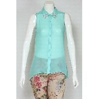 Ladies Polyester Top with Diamonte at Collar