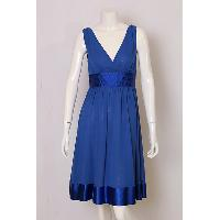 Ladies' Polyester Chiffon With Satin Multi Stitching Waist And Hem Woven Dress