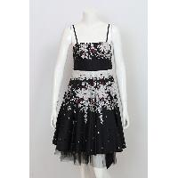 Ladies' Cotton Floral / Black Border Print Woven Party Dress