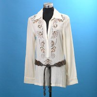 Ladies Embroidery With Beads Blouse With Beading Belt Delicate Embroidery+Beading