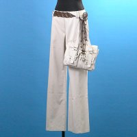 Ladies 100% Cotton Woven Trousers+Watching Bag