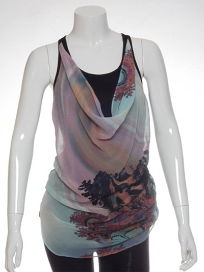 Ladies' 100% Polyester 2 Layer Knit + Woven + Top + With Print Fabric Layer At Front