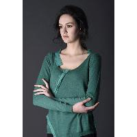 Green Surplice Scoop Neckline Long Sleeve Button Closure Lady's Sweater Blouse
