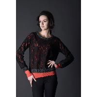 Round Neckline Lace Long Sleeve Lady's Pullover Sweater