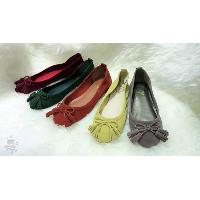 Ladies Round Toe Lamb Suede Leather Ballerinas with Bow