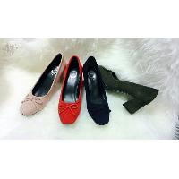 Ladies Front Toe Block High Heel Shoes with Bow