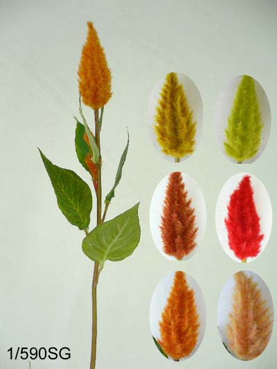 26 inches Small long shape celosia w/6 lvs.