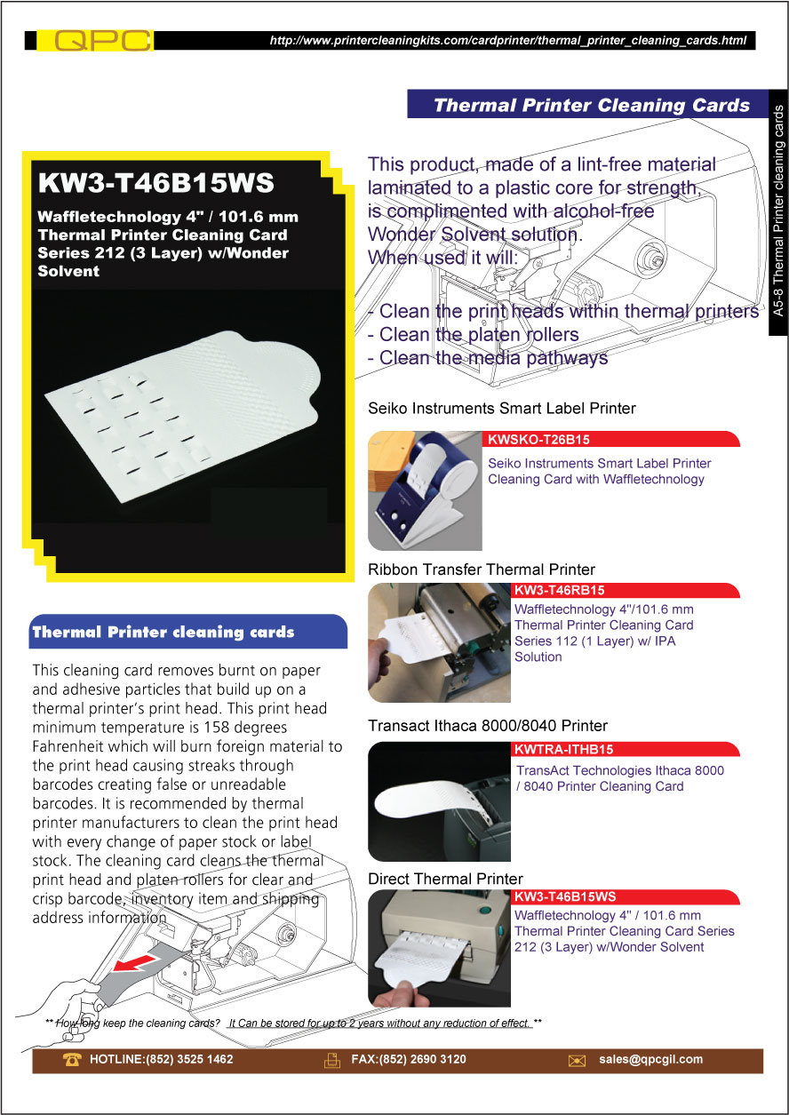 Thermal Printer cleaning cards,KW3-T46B15WS - QPC Global Int
