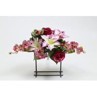 25cm Mixed Satin Lily/Satin Rose/Sm Hydrangea/Anemone/Orchid/Rose Hips/Wondering Jew Centre Piece X 13