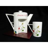 4 Piece Tea Pot Set with Wooden Tray with Gift Box