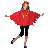 Fire Devil Poncho with Headband for Kids