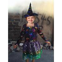 Colorful witch Dress with Pointed Hat, Short Sleeves, Arm Sleeves