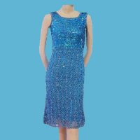 LADIES' 100% RAYON HAND CROCHET DRESS W/BEADING.