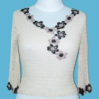 LADIES' 100% RAYON HAND CROCHET TOP.