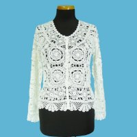 LADIES' 100% RAYON HAND CROCHET CARDIGAN.