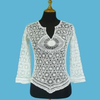 LADIES' 100% COTTON HAND CROCHET TOP W/BEADING.