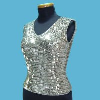 LADIES' 100% RAYON HAND CROCHET TOP W/BEADING.