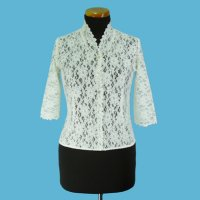 LADIES' 100% NYLON LACE BLOUSE W/BEADING., OST1030
