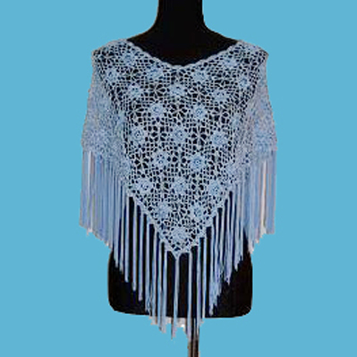 LADIES' 100% RAYON HAND CROCHET CAPE.