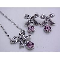 BOW NECKLACE + EARRING (SET)