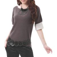 Women Round Neck Short Sleeves Casual Knitted Top