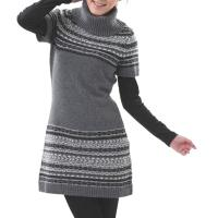 Women Turtle Neck Short Sleeves Pullover Sweater Dress