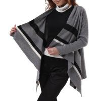 Women Open Front Long Sleeves Stripes Knitted Cardigan