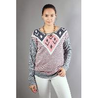 Women Round Neck Long Sleeves Spliced Diamond Patterns Loose Sweater