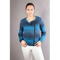 Women Crew Neck Gradient Color Zipper Closure Short Cardigan Outerwear