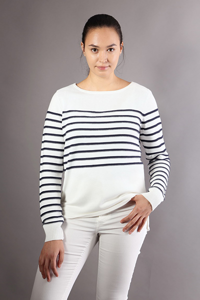 Women Crew Neck Long Sleeves Striped Loose Sweater Top