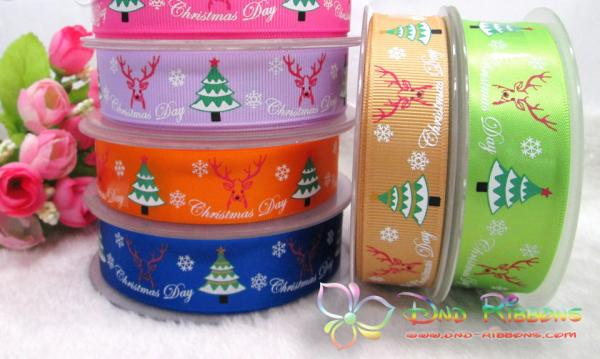 Christmas tree printed ribbon