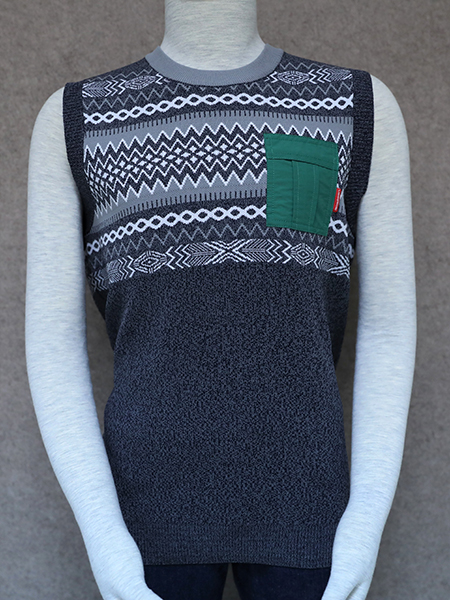 Jacquard Vest with Pocket