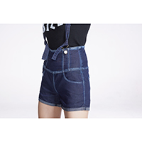 Denim Overalls Short with Bleached Seam Effect