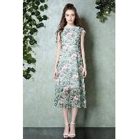 Short Sleeve Mid-thign Length Round Collar Loose Fit Flora Print Dress